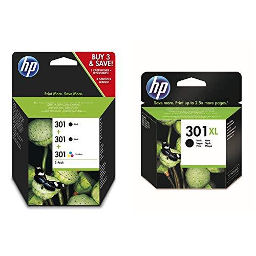 HP 301 E5Y87EE, Pack de 3, Cartuchos de Tinta Originales, 2 Negro + 1 Tricolor + 301XL CH563EE, Negro, Cartucho de Tinta de Alta Capacidad Original