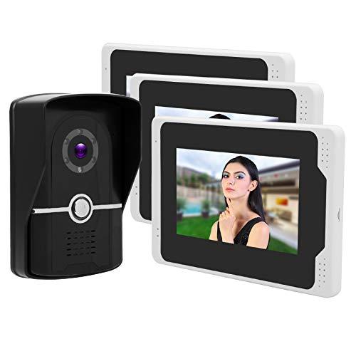 Monitoreo Remoto Protección Las 24 Horas Video en Color TFT de 7 Pulgadas Videoportero 1080P HD 3 Monitores WiFi(European regulations)