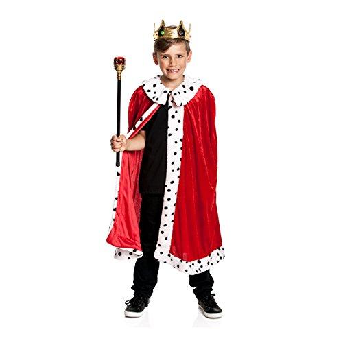 Kostümplanet® König Kostüm Kinder Königs-Kostüm Kaiser Umhang Mantel Größe 164