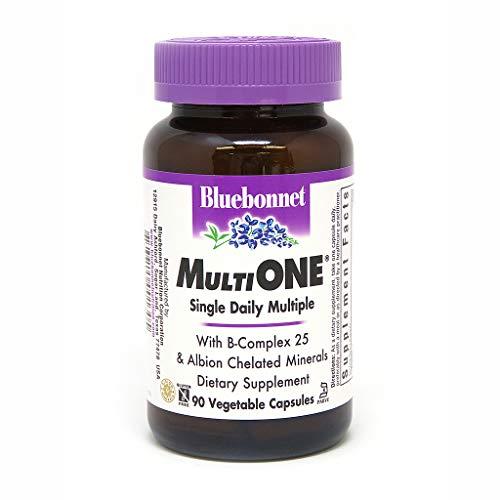 Bluebonnet Nutrition Multi One (with Iron) Vegetable Capsules, Complete Full Spectrum Multiple Vitamin Supplement, B Vitamins, Gluten Free, Milk Free, Kosher, 90 Vegetable Capsules, 3 Month Supply
