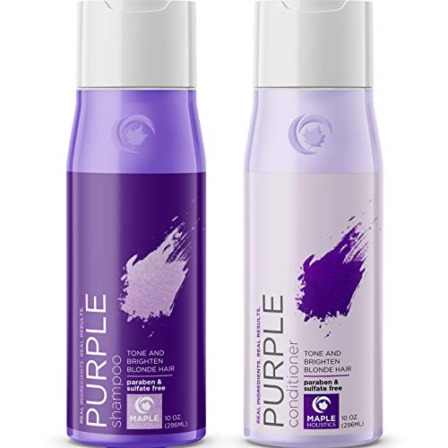 Purple Shampoo and Conditioner for Blonde Hair - Sulfate Free Purple Shampoo for Brassy Hair and Color Conditioner Hair Toner for Brassiness - Blonde Shampoo for Color Treated Hair with Argan Oil