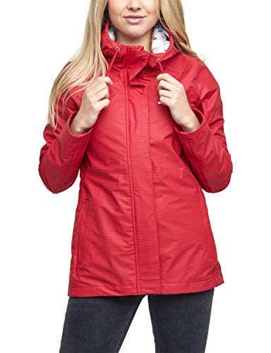 mazine - Damen - Regenjacke 'Kimberley Rain Jacket' - Streetwear Fasion Summer Spring Design - red/Thin Stripes - S