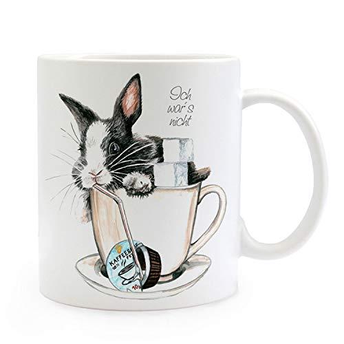 ilka parey wandtattoo-welt Tasse Häschen Kaninchen im Kaffeebecher mit Zucker Sahne und Spruch Ich War's Nicht ts232