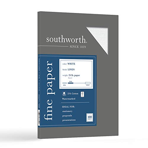 """Southworth 25% Cotton Business Paper, 8.5"""" x 11', 24 lb/90 gsm, Linen Finish, White, 100 Sheets - Packaging May Vary (P554CK)"""