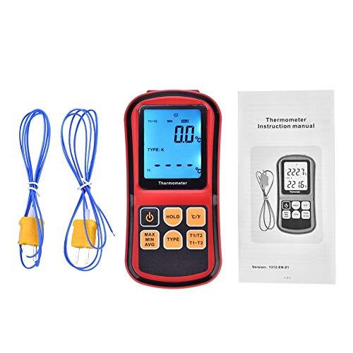Termómetro de mano Pantalla Termómetro Digital de Doble Canal LCD digital de doble canal con retroiluminación Medidor de medición de escritorio con 2 sondas de sensor de termopar tipo K