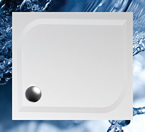 Duschwanne 100x90 Mineralguss - Mineralgussbecken 90x100 x1,7 cm, Weiss