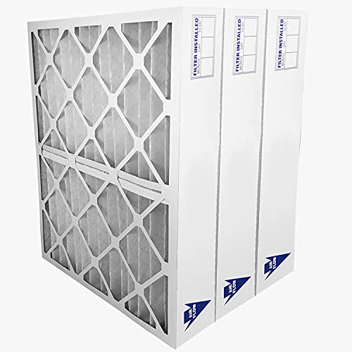 """Filters Fast 20x25x4 Pleated Air Filter MERV 8, 4"""" AC Furnace Air Filters, Made in the USA, Actual Size 19-1/2 x 24-1/2 x 3-1/2, 3 Pack"""