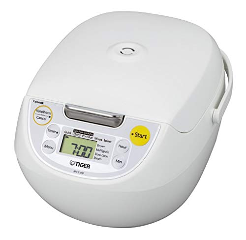 Tiger JBV-S18U 10-Cup Microcomputer Controlled 4-in-1 Rice Cooker (White)