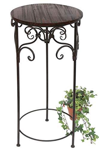 DanDiBo Blumenhocker Metall Braun Rund 78 cm Blumenständer 12590 Beistelltisch Pflanzenständer Holzablage Blumensäule