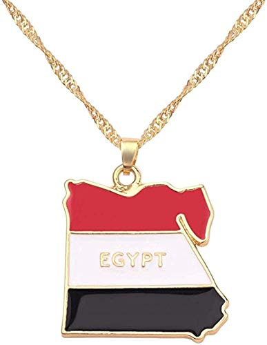 WYDSFWL Necklace Africa Egypt Map National Flag Necklace Pendant Fashion Charm Male Female Jewelry Chain Accessories Patriot Chic Chain Necklace
