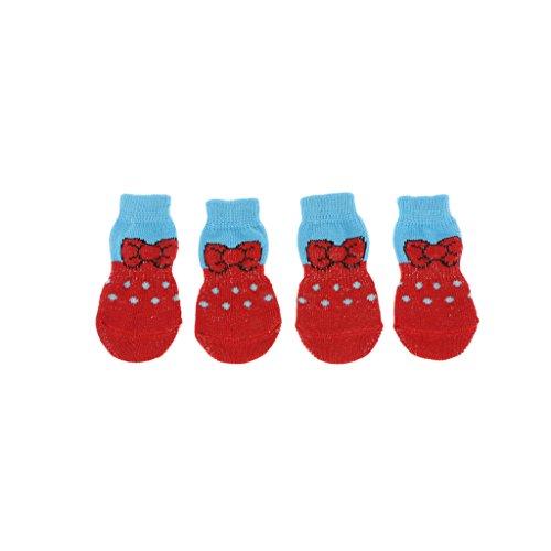 MERIGLARE 4Pcs Pet Dog Socks Dog Floor Grip Calcetines Zapatos Botas Calcetines Protectores Antideslizantes - Rojo, L