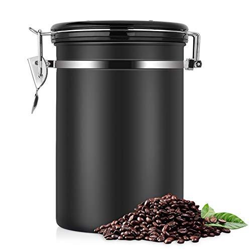 1200ML Luchtdichte Koffie Container Canister - RVS Koffie Opslag Canister met CO2 Klep - Verzegelde Cantilever Deksel met Numerieke Dag/Maand Tracker