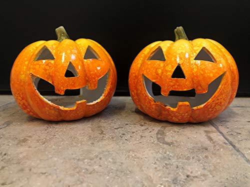 mucplants Windlicht Kürbis Halloween 2 Stück Herbst Dekoration Teelicht Halter Laterne Lampe