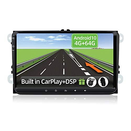 YUNTX Android 10 2 DIN Autoradio Apto para VW Passat/Golf/Skoda/Seat -4GB+64GB- [Integrado CarPlay/Android Auto/DSP/GPS] - 8 Core - Gratuitos 4 LED Cámara&Mic - Soporte Dab/Control del Volante/BT 5.0
