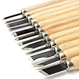SISHUINIANHUA 12st Professionelle Holzschnitzerei Meißel Messer-Handwerkzeug-Set für Grund Schnitzen Detaillierte Holzarbeiter Gouges