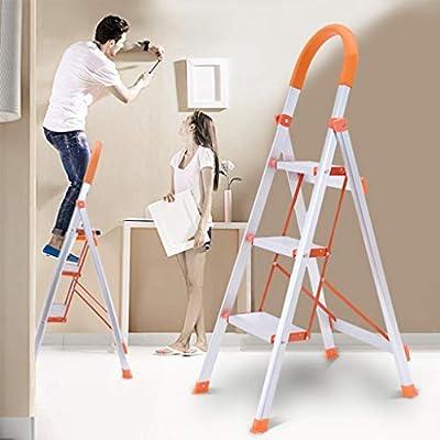 3 Step Ladder, Lightweight Aluminum Folding Ste...