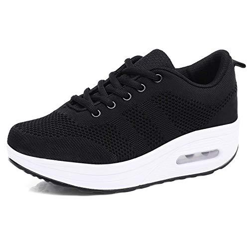 Zapatillas cuña Mujer Deportivas cuña Mujer Zapatos Deporte Gimnasio Zapatillas de Running Ligero Sneakers Cómodos Fitness Zapatos de Trabajo Negro A 40EU
