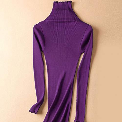 GDCAKMI Solide Rollkragenpullover für Frauen 80% Seide 20% Baumwolle Eng geschnittene Rippenpullover Herbst Winter Bottom Strickwaren