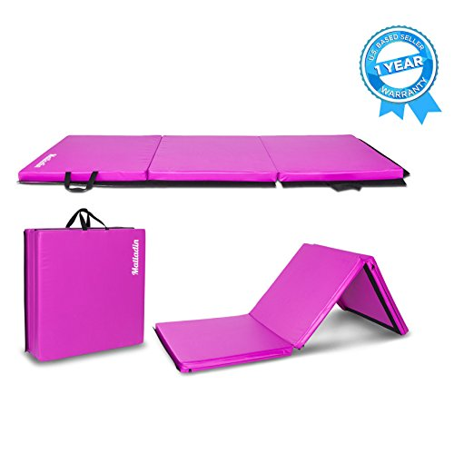 Matladin 6' Folding Tri-fold Gymnastics Gym Exercise Aerobics Mat, 6ft x 2ft x 2in PU Leather...