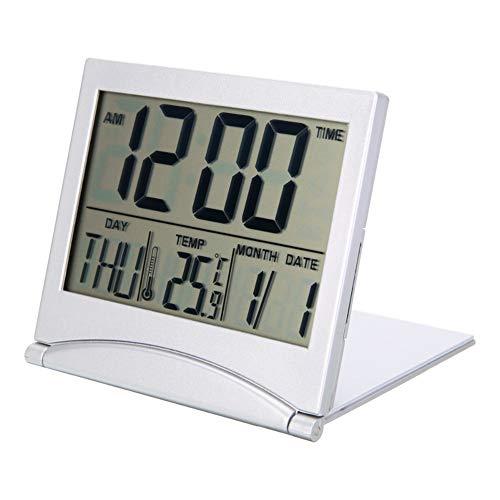 Kylewo Falten Tragbarer Schreibtisch Digital LCD Display Thermometer Kalender Wecker, Digitale Wecker Batterie betrieben für Reisen mit Datum