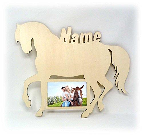 Wand Bilderrahmen Pferd Design Figuren mit Name Deko Geschenke für Mädchen Kinderzimmer 10x15 cm