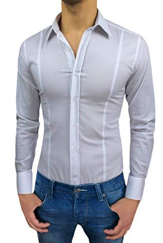 AK collezioni Camicia Uomo Slim Fit Super Aderente Nuova Casual Elegante in Cotone (M, Bianco)
