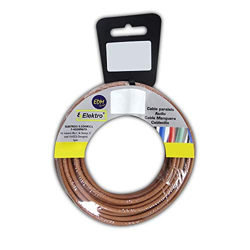 Enrollacables de Instalación eléctrica marca EDM, CARRETE CABLECILLO FLEXIBLE 2,5MM MARRON 50MTS...