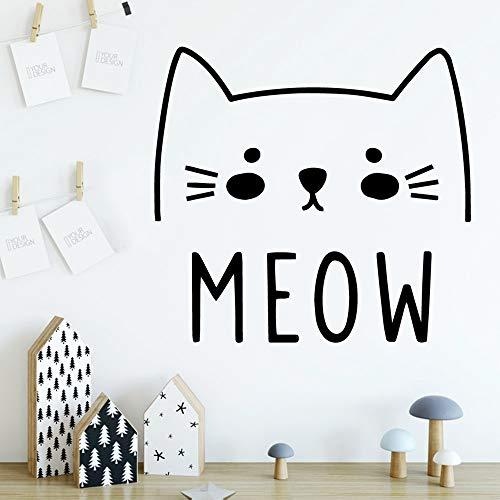 Cat Meow Wandaufkleber Wohnzimmer Schlafzimmer Dekor Wandtattoos Pink M 30cm X 32cm