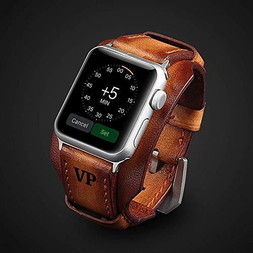 Luxus Apple Watch Strap Hand genäht Vintage echtes Leder Apple Watch Band 38mm 42mm 44mm iwatch Band Gurt Herren Freund Mann Geschenk Serie 4 3 2 1 personalisierte graviert Geschenk Luxus Premium