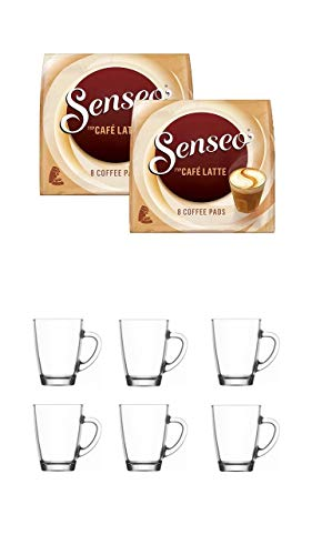 Senseo Kaffeepads 2er Pack + 6er Set Gläser mit Henkel 300ml …