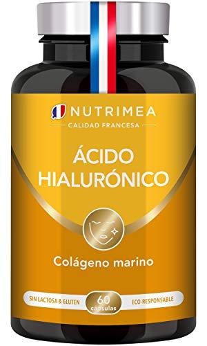 Colágeno Marino y Acido Hialurónico Puro | Con Vitamina A y Vitamina C | Hidratación Piel Antiedad Antirrugas Reduce Líneas de Expresión | Huesos y Articulaciones | 60 Cápsulas Fabricado en Francia