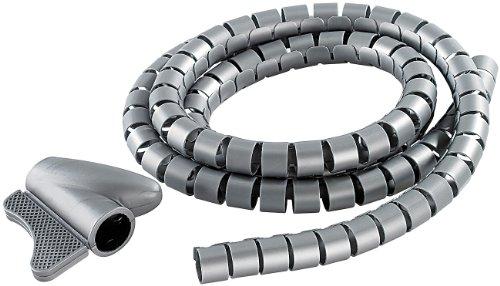 dream audio Kabelspirale: Flexibler Kabelschlauch 22mm mit Einfädeltool, 1.5m in silber (Flexibler Kabelkanal)