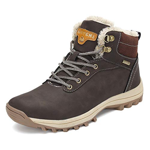 Mens Winter Warm Snow Boots Non-Slip Waterproof Casual Outdoor Womens Hiking Shoes Walking Brown 8.5 Women/7 Men