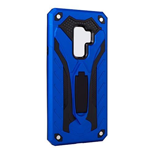 Funda Galaxy S9 Plus Carcasa Combinación Antigolpes Armadura Resistente Escudo Cáscara Dura PC + Suave Silicona TPU Rubber Case con Soporte para Galaxy S9 (Galaxy S9 Plus, Azul)