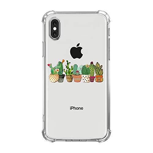 Tybaker iPhone Xr Hülle, iPhone Xs Max Hülle Durchsichtige Schutzhülle Kaktus Case TPU Silikon Schale Cover Kratzfest Handyhülle Bumper Kantenschutz für iPhone Xs Transparent (iPhone Xr, C Kakteen)