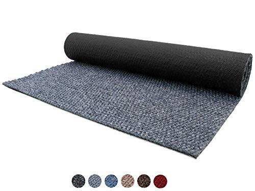 Schmutzfang-Läufer Sauberlauf Meterware PICOLLO Grau-Blau 100 x 300 cm - Rutschfester Teppichläufer Schmutzfangmatte, Sauberlaufteppich, Schmutzfangteppich, Küchenläufer, Küchenvorleger