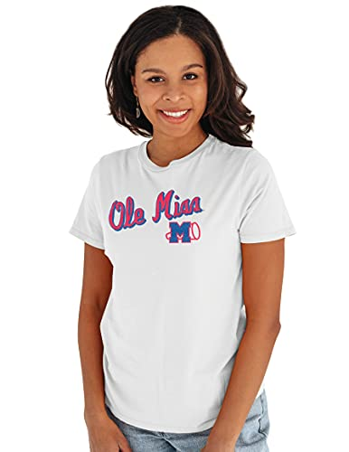Reserve Collection by Blue 84 NCAA Mississippi Old Miss Rebels Womens Vintage Boyfriend Vault Tee, Mississippi Old Miss Rebels White, X-Large