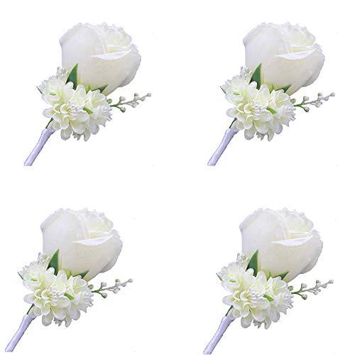 WeddingBobDIY Boutonniere Buttonholes Groom Groomsman Best Man Rose Wedding Flowers Accessories Prom Suit Decoration (4,Ivory)