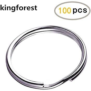 KINGFOREST 100PCS Key Rings 1 Inch, Key Rings Metal Keychain Rings Split Keyrings Flat Ring for Home Car Office Keys Attachment