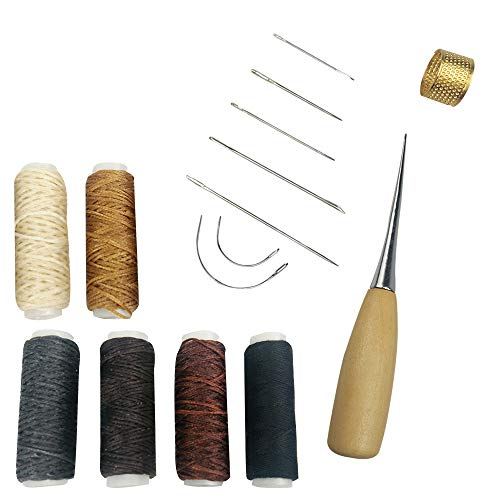 Lemimo 15 Pieces Leather Craft Tools with 7 Pieces Curved Upholstery Hand Sewing Needles Sewing Needles with 5 Pieces Leather Waxed Thread Cord and 1 Pieces Cotton Cord and Drilling Awl and Thimble fo