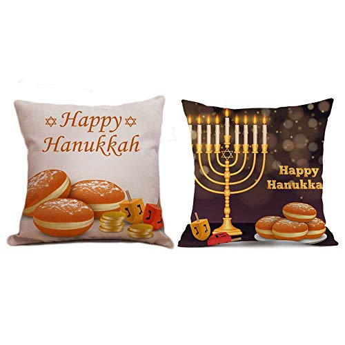 Seihoo Hanukkah Pillow Case for Couch Pillows - 2 Packs Hanukkah Throw Pillow Cases for Hanukkah Decoration (Bright&Dark-P2)