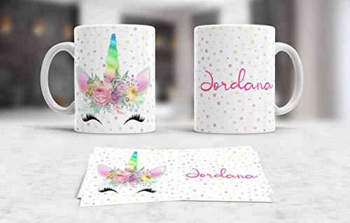 Taza blanca unicornio personalizada con tu nombre,ideal regalo niños M4