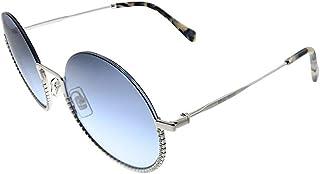 Miu Miu MU 69US 1BC4R2 Silver Metal Round Sunglasses Blue Gradient Lens