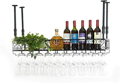 KHFFH Wijnrek - Industriële Wandmontage Zolder Rechthoekige Graveren Hek Metalen Wijnfles | Wijnglas Rack Bar Rack 8~36 Restaurant Wijnglas Rack, Dagelijks Huis Hoogte Verstelbaar 30~60 cm
