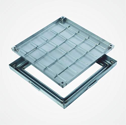 Schachtabdeckung PRO+slim zum Befüllen, feuerverzinkt, Wannenhöhe Innenmaß 28 mm bei nur 50 mm gesamte Aufbauhöhe (400 mm x 400 mm, silber)