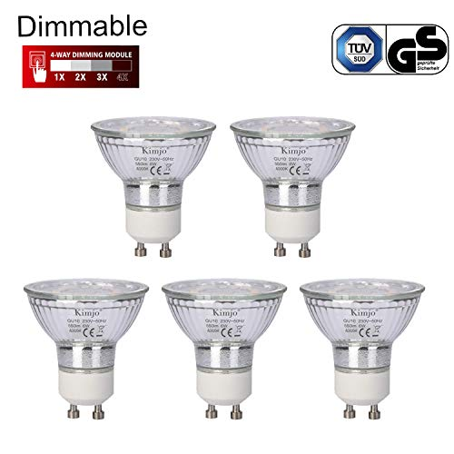 Bombillas LED GU10 Regulable Kimjo 6W Blanco Natural 4000K Equivalente