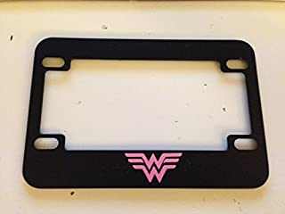 Stickysight.com W Wonder Woman Style - Black with Pink Motorcycle/Scooter License Plate Frame - Super Mom Super Girl Super Woman