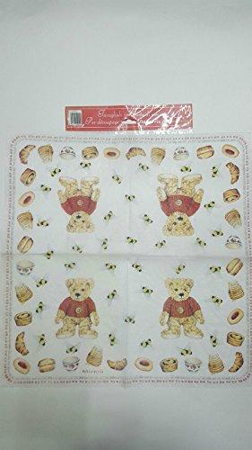 Tovagliolo in carta di riso 50×50 cm 14g Decoupage DFT005 Orsetto e miele