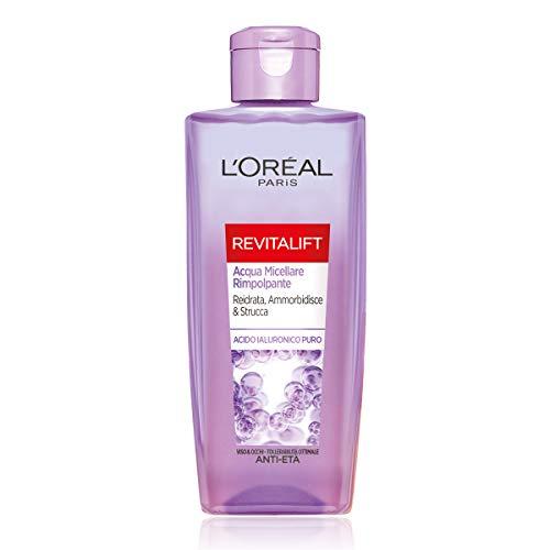 L'Oréal Paris Acqua Micellare Rimpolpante Revitalift Filler, Azione Detergente Anti-Età con Acido Ialuronico Puro, 200 ml