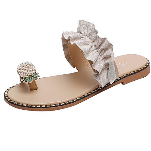 FRAUIT Sandali Donna Con Tacco Basso Pelle E Perle Infradito Ragazza Eleganti Slip On Pantofole Ciabatte Donne Estive Mare Sandali Da Spiaggia Piscina Sandali Estivi Bassi Gioiello